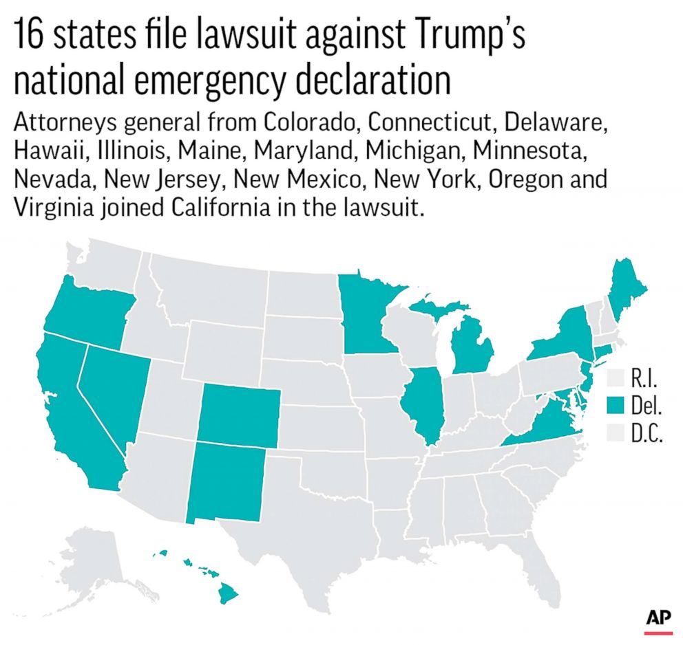 PHOTO: Map highlights the 16 states that have joined to file a lawsuit against Trumps national emergency on border security.