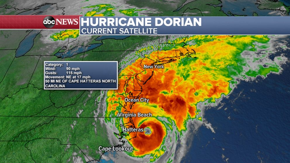 PHOTO: A map shows the location via satellite of Hurricane Dorian over the eastern U.S., the morning of Sept. 6, 2019.