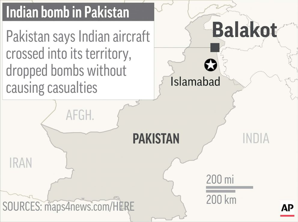 India launches airstrike in Pakistan territory, raising