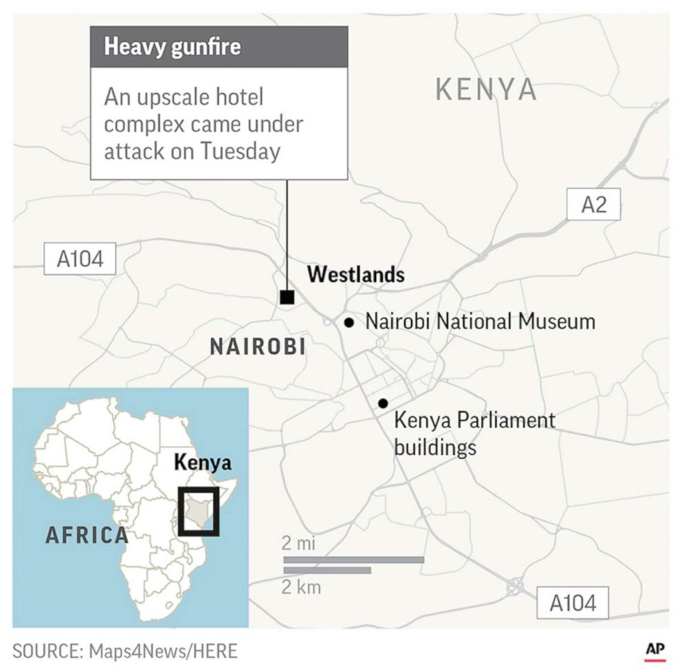 PHOTO: Map showing the location of an attack at a hotel in Nairobi, Kenya, Jan. 15, 2018.