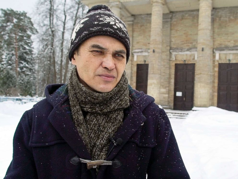PHOTO: In this image taken from video, Feb. 18, 2018, Marat Mindiyarov, a former internet troll, speaks to journalists in St.Petersburg, Russia.