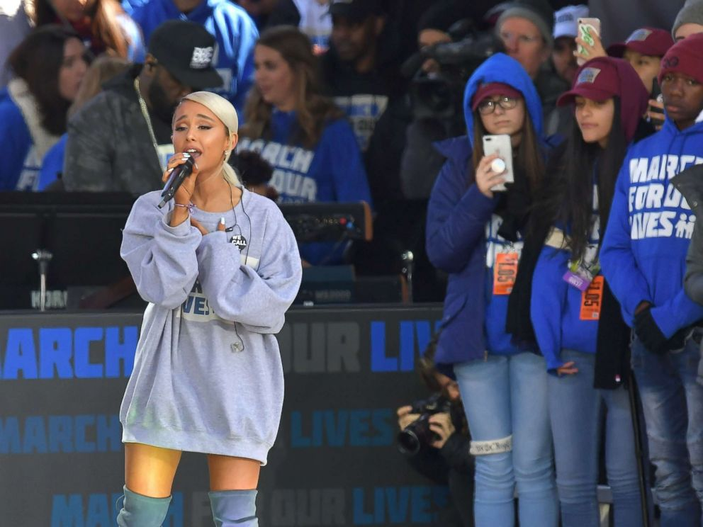 PHOTO: Ariana Grande performs during the March for Our Lives Rally in Washington, D.C., March 24, 2018.