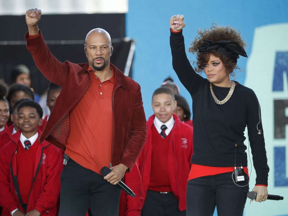 PHOTO: Common and Andra Day perform Stand Up For Something with members of the Cardinal Shehan School Choir during the March for Our Lives rally, March 24, 2018, in Washington, D.C.