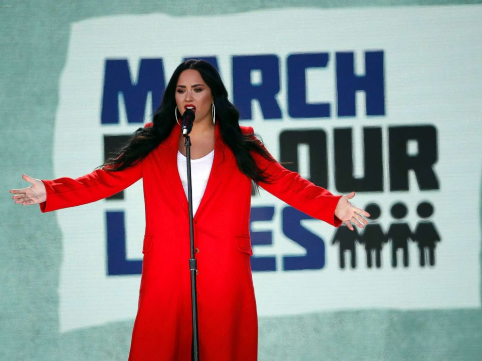 PHOTO: Demi Lovato performs Skyscraper during the March for Our Lives rally in support of gun control, March 24, 2018, in Washington D.C.