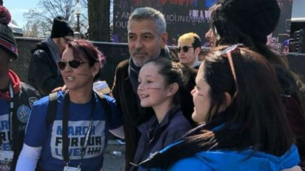 @shannonrwatts shared this photo of George Clooney at the March for Our Lives rally, March 24, 2018.
