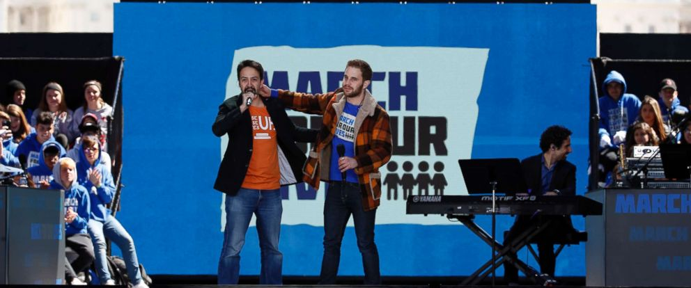 "PHOTO: Lin-Manuel Miranda, left, and Ben Platt perform ""Found Tonight"" during the March for Our Lives rally in support of gun control, March 24, 2018, in Washington D.C.."