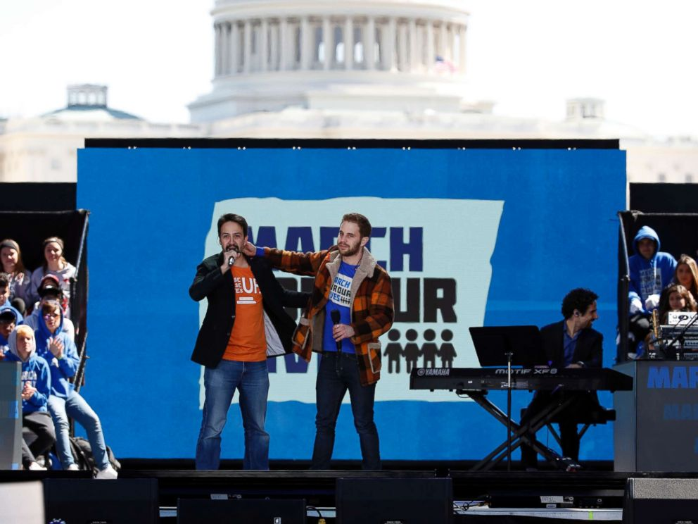 PHOTO: Lin-Manuel Miranda, left, and Ben Platt perform Found Tonight during the March for Our Lives rally in support of gun control, March 24, 2018, in Washington D.C..