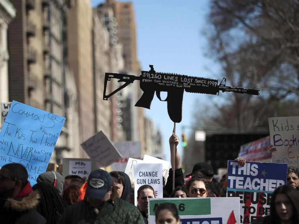 PHOTO: Demonstrators attend the March For Our Lives just north of Columbus Circle, March 24, 2018, in New York.