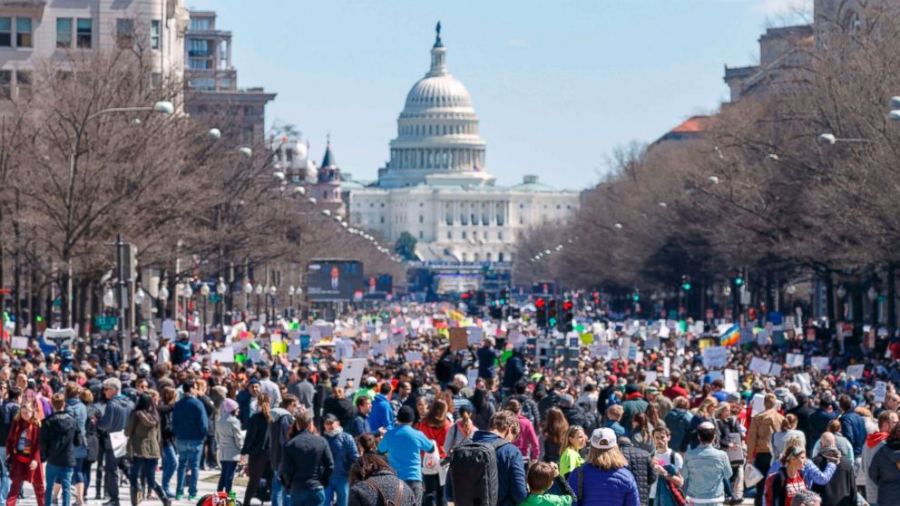 Rally goers demonstrate on Pennsylvania Avenue during the March for Our Lives rally in Washington, D.C., March 24, 2018.
