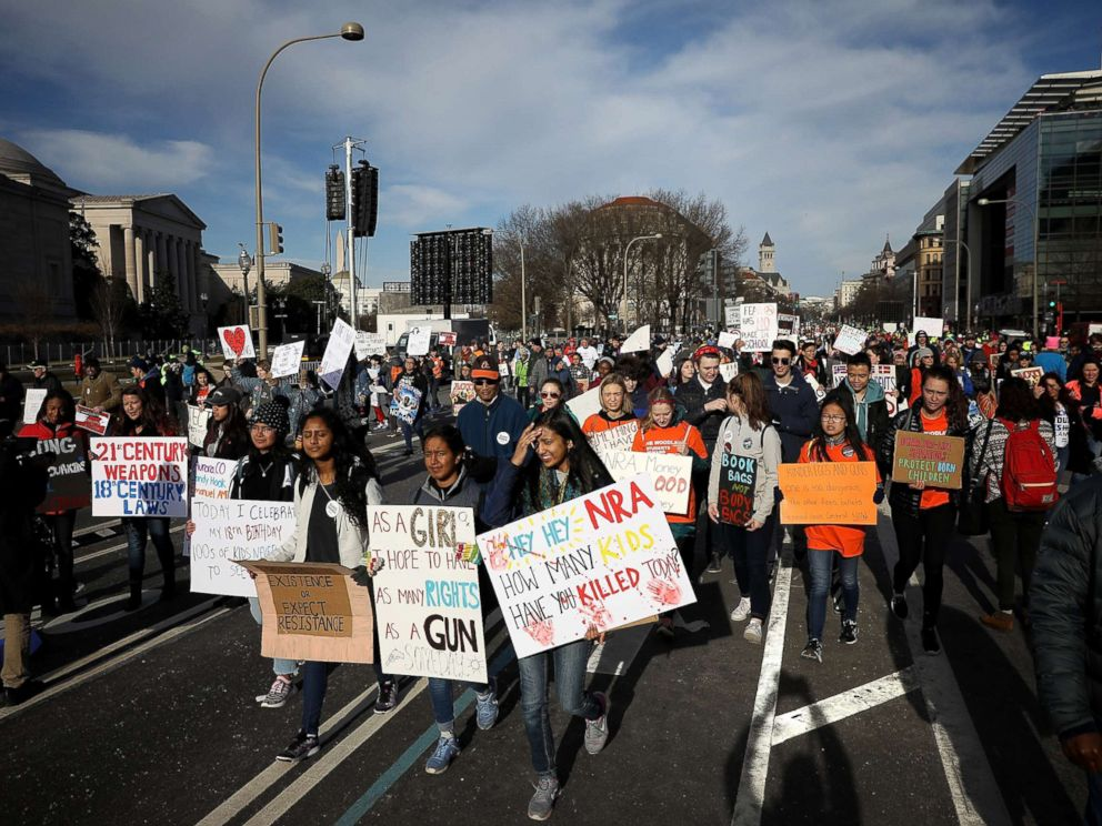 PHOTO: Protesters arrive for the March for Our Lives rally, March 24, 2018 in Washington, D.C.