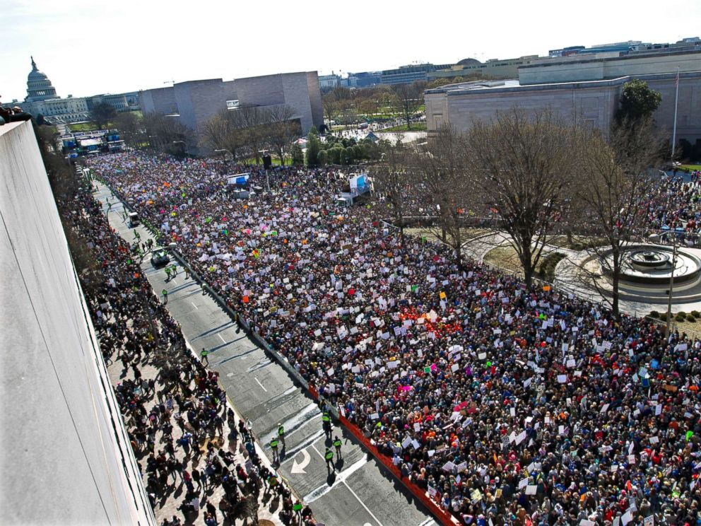 PHOTO: Demonstrators fill Pennsylvania Avenue, as seen from the Newseum, during the March for Our Lives rally in support of gun control in Washington D.C., March 24, 2018.