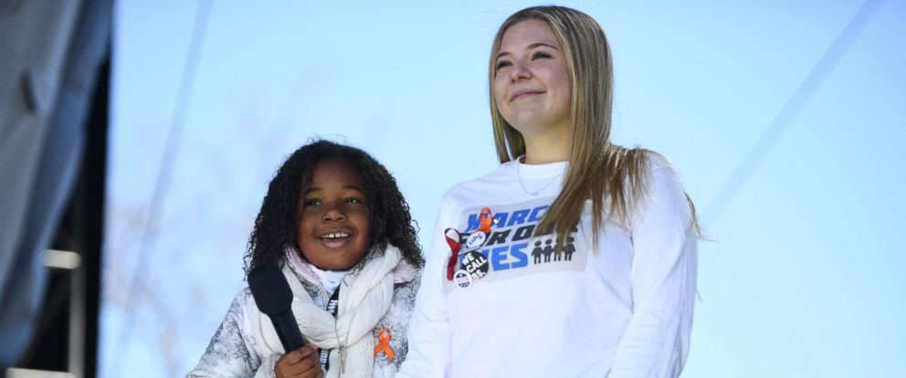 PHOTO: Martin Luther King Jrs granddaughter(L) speaks next to student Jaclyn Corin during the March for Our Lives Rally in Washington, D.C., March 24, 2018.