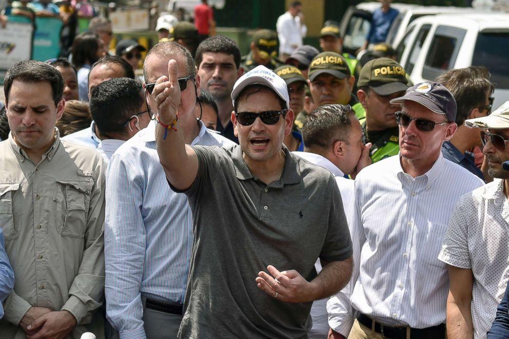 PHOTO: Sen. Marco Rubio gestures at the Simon Bolivar international bridge in Cucuta, Colombia, on the border with San Antonio de Tachira, Venezuela, Feb. 17, 2019.