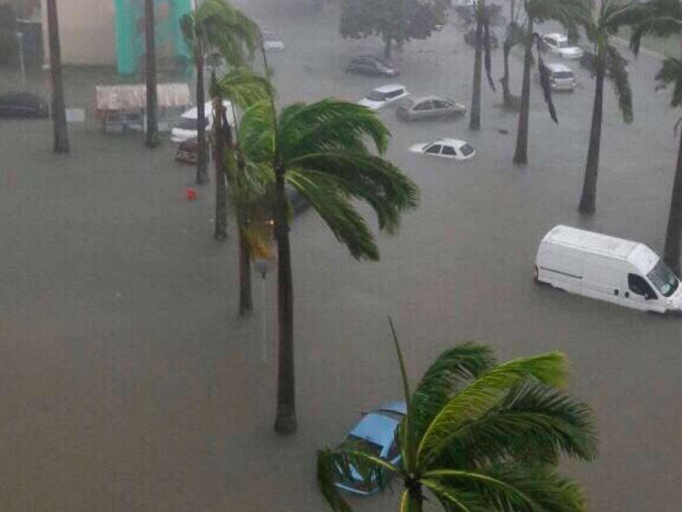 PHOTO: Hurricane Maria battered the small Caribbean islanda of Guadeloupe after it made landfall, Sept. 19, 2017.