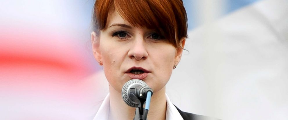PHOTO: Maria Butina, leader of a pro-gun organization in Russia, speaks to a crowd during a rally in support of legalizing the possession of handguns in Moscow, Russia, April 21, 2013.