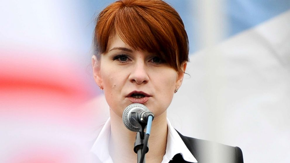 Maria Butina, leader of a pro-gun organization in Russia, speaks to a crowd during a rally in support of legalizing the possession of handguns in Moscow, Russia, April 21, 2013.