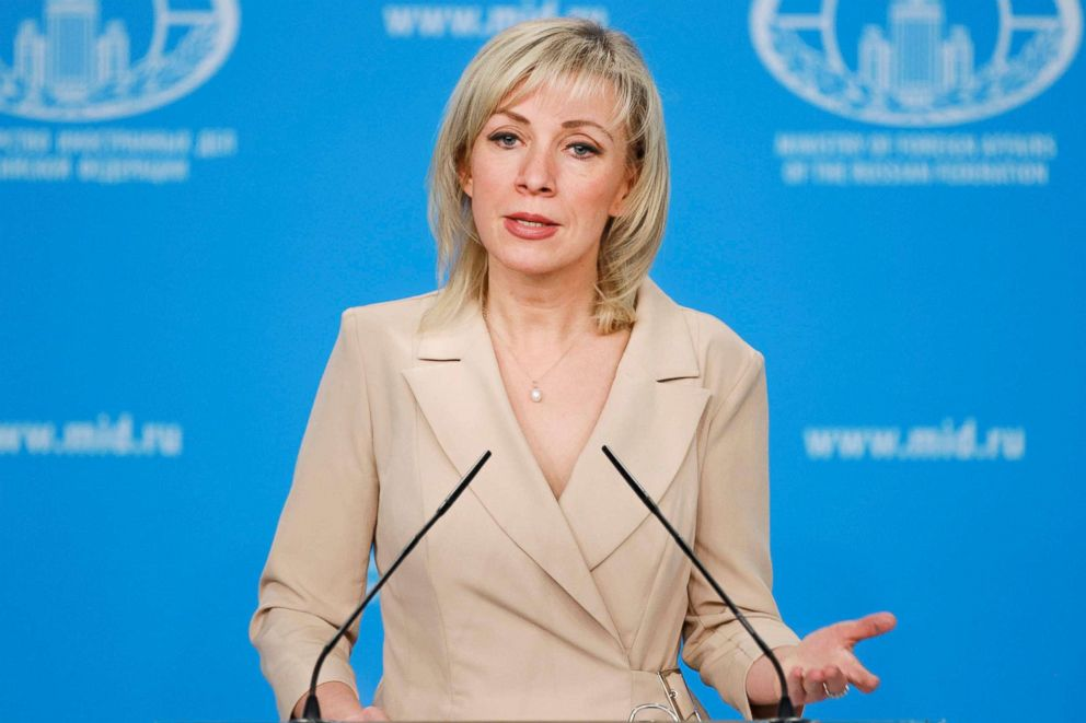 Russian Foreign Ministry's spokeswoman Maria Zakharova speaks to the media during her weekly briefing in Moscow.