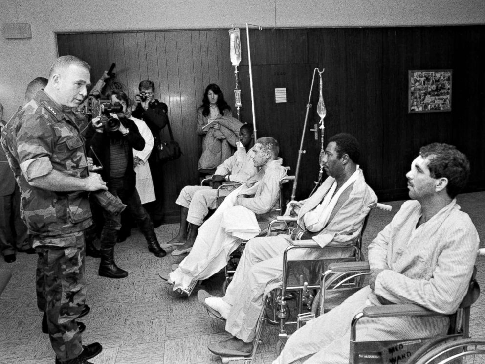 PHOTO: U.S. Marine Corps Commandant Paul Kelley awards the Purple Heart to Marines wounded in the Oct. 23, 1983 terrorist bombing in Beirut during a ceremony at the Wiesbaden Air Force hospital in Germany on Oct. 25.