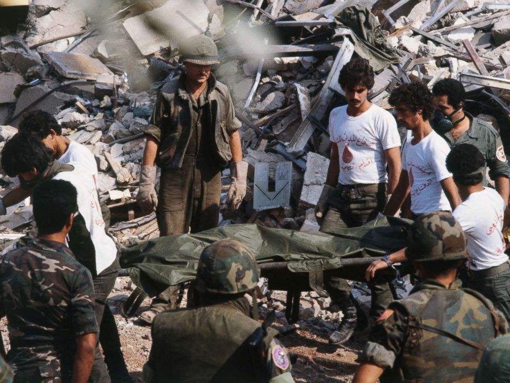 PHOTO: U.S. Marines search for survivors and bodies in the rubble of their barracks headquarters in Beirut, Oct. 24, 1983, the day after a truck with 2,000 lbs of explosives was driven into the building and detonated.