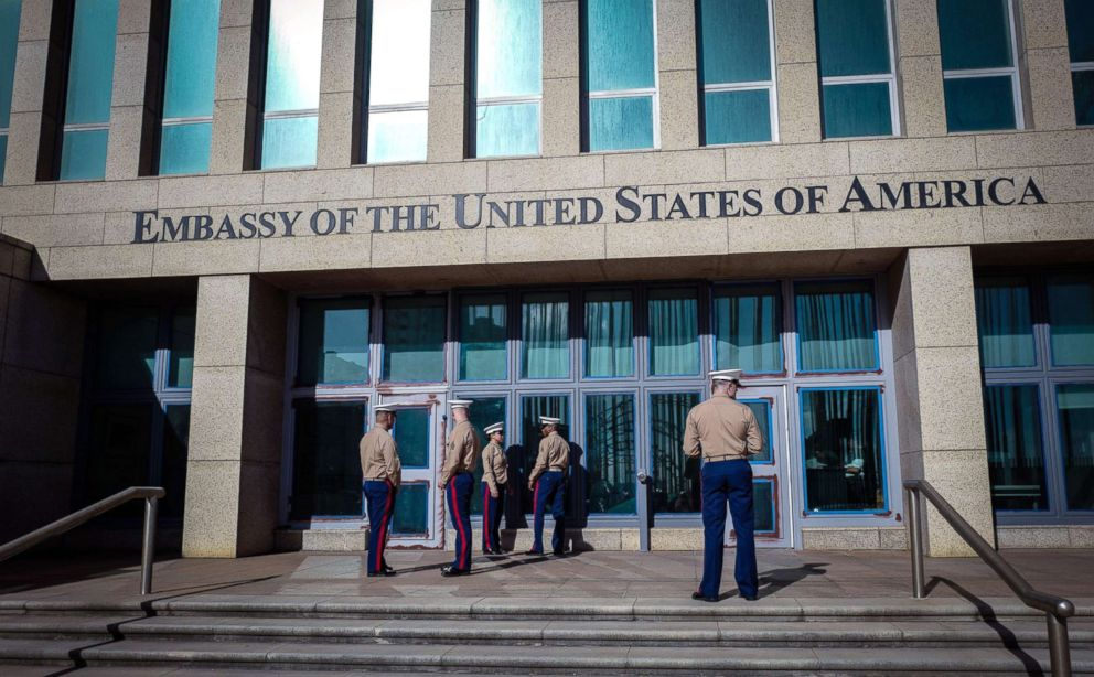 PHOTO: Marines stand outside the U.S. Embassy in Havana, Cuba, Feb. 21, 2018.
