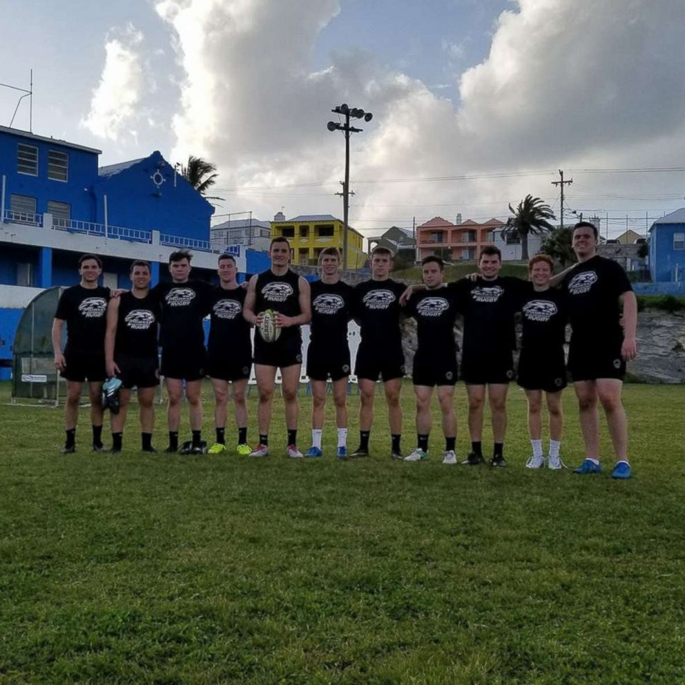 PHOTO: Mark Dombroski is pictured with his team mates on the Saint Josephs University rugby team as they prepared for their games in Bermuda.