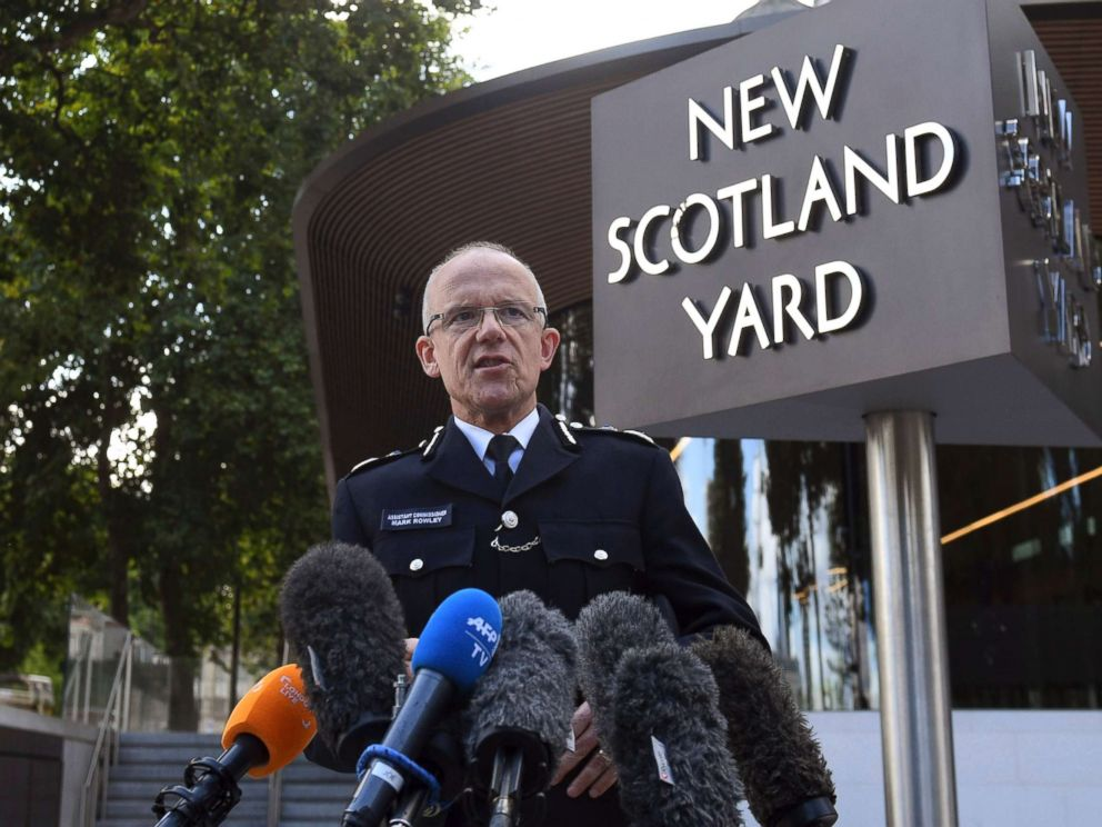 PHOTO: Metropolitan Police Assistant Commissioner Mark Rowley speaks to the media outside New Scotland Yard, giving a statement about the investigation following a terrorist attack at Parsons Green subway station in London, Sept. 15, 2017.