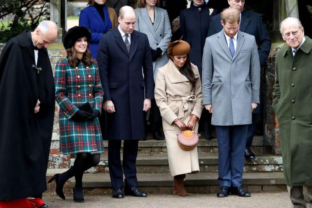 Prince William, Duke of Cambridge, Prince Philip, Duke of Edinburgh, Catherine, Duchess of Cambridge, Meghan Markle and Prince Harry attend Christmas Day Church service at Church of St Mary Magdalene, Dec. 25, 2017, in King's Lynn, England.