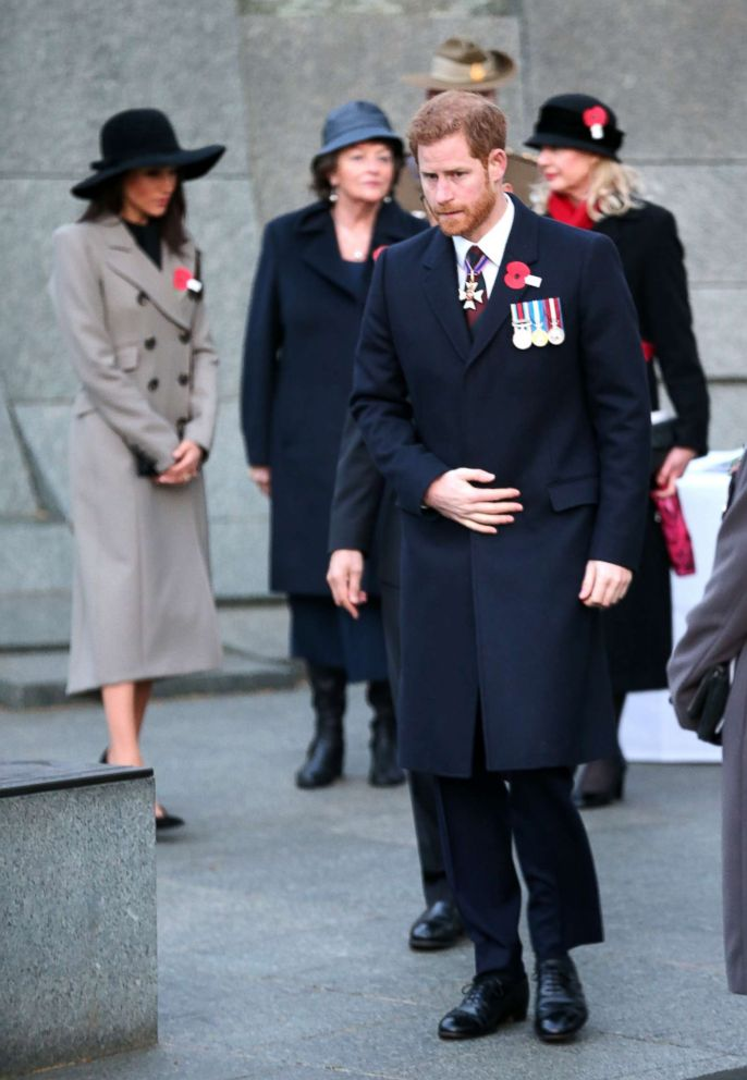 PHOTO: Prince Harry and Meghan Markle attend an Anzac Day dawn service at Hyde Park Corner, April 25, 2018, in London.