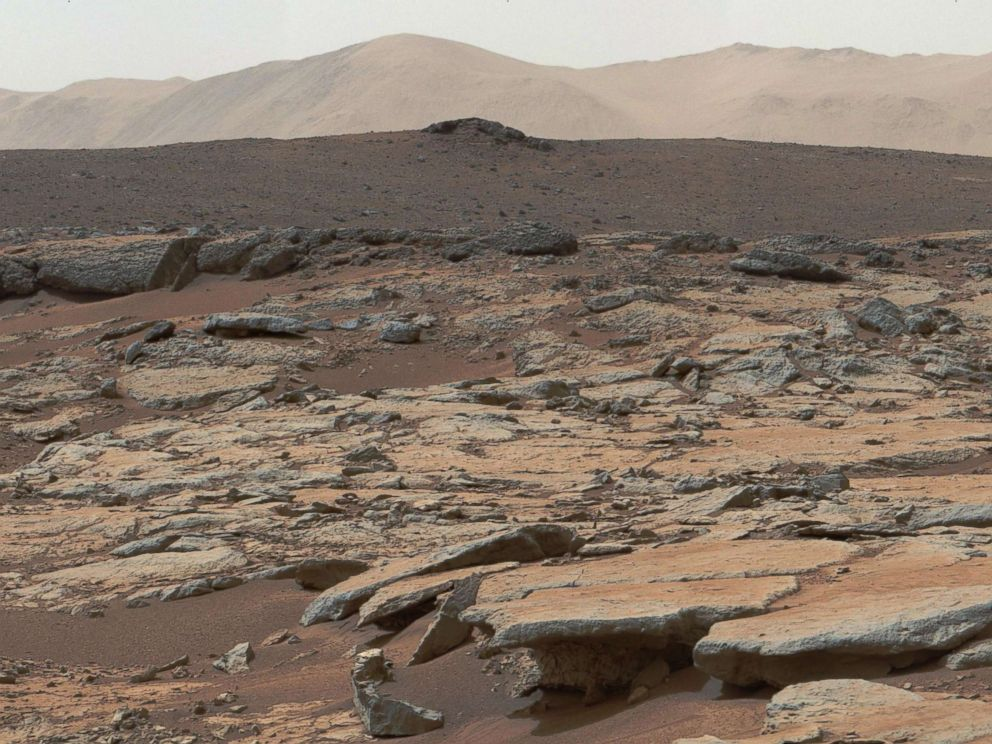 PHOTO: This Dec. 9, 2013, NASA photo is a mosaic of images from NASAs Curiosity Mars rover and shows a series of sedimentary deposits in the Glenelg area of Gale Crater.