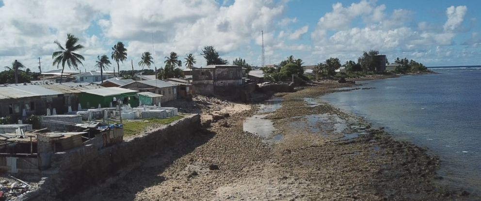 PHOTO: The oceans waves have eroded the coastline of Majuro, reducing much of the land where families homes once stood to rubble.