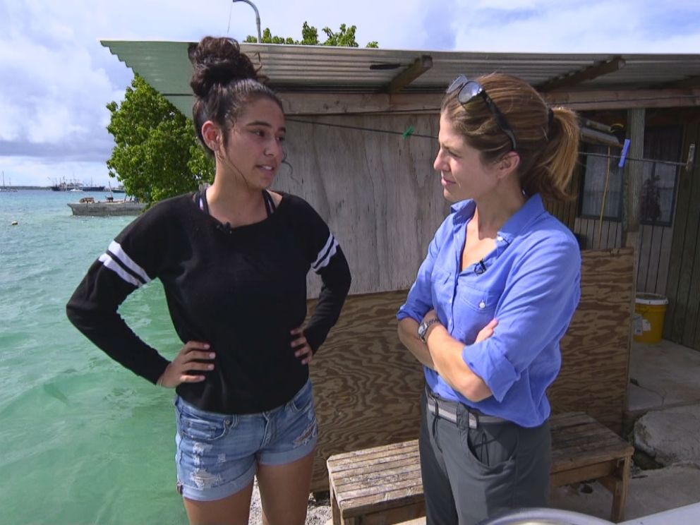 PHOTO: ABC News Gloria Riviera speaks with Marshall Islands resident Charlotte Jack, 16. She's part of what's called the last generation – over half the country's population is under the age of 24.