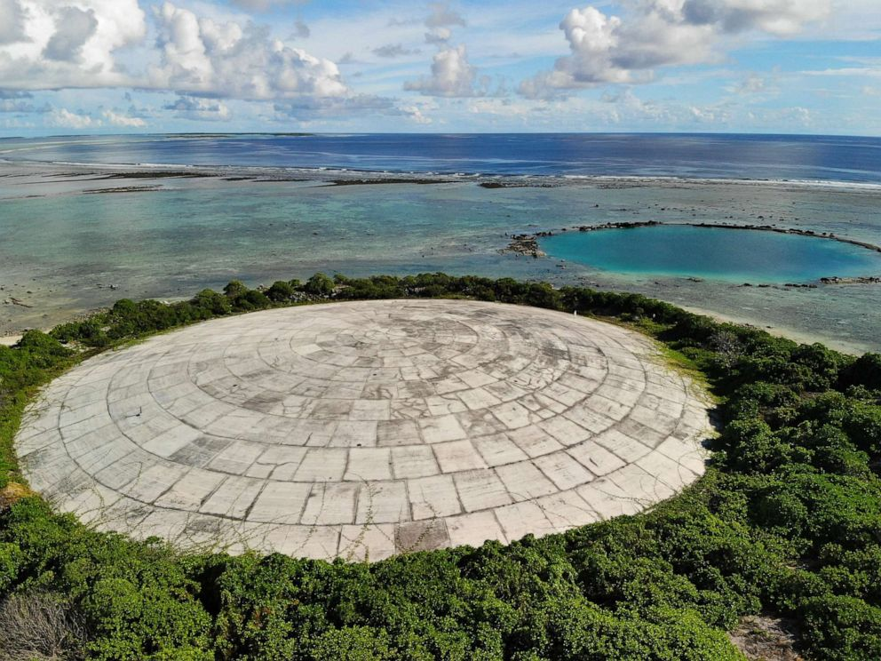 PHOTO: In this May 27, 2019, file photo, Runit Island, part of the Marshall Islands is shown. The U.S. Department of Energy has disclosed high levels of radiation in giant clams in a lagoon near the Runit Dome, where the U.S. entombed radioactive waste.