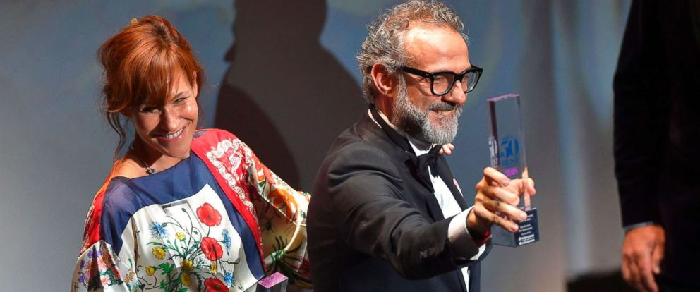 PHOTO: Italian chief Massimo Bottura celebrates next to his wife Lara Gilmord after receiving the Best Restaurant award for his restaurant La Osteria Francescana during the Worlds 50 Best Restaurants awards in Bilbao, Spain, June 19, 2018.