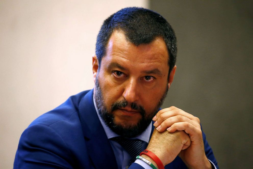 PHOTO: Italys Interior Minister Matteo Salvini looks on during a news conference in Rome, June 20, 2018.