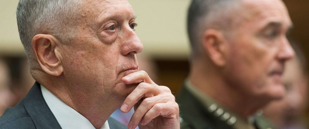 PHOTO: US Secretary of Defense James Mattis, left with Chairman of the Joint Chiefs of Staff General Joseph Dunford, as they testified before a House Armed Services Committee hearing in regard to the military budget, on Capitol Hill, April 12, 2018.