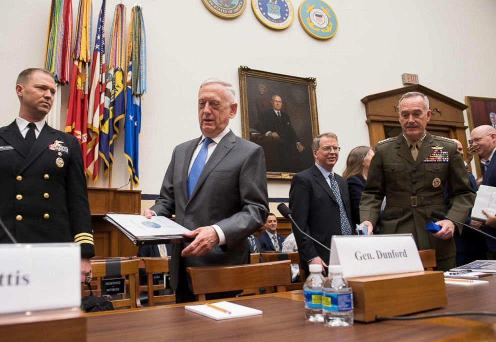 PHOTO: US Secretary of Defense James Mattis and Chairman of the Joint Chiefs of Staff General Joseph Dunford, right, arrive to testify before a House Armed Services Committee hearing on Capitol Hill, April 12, 2018.