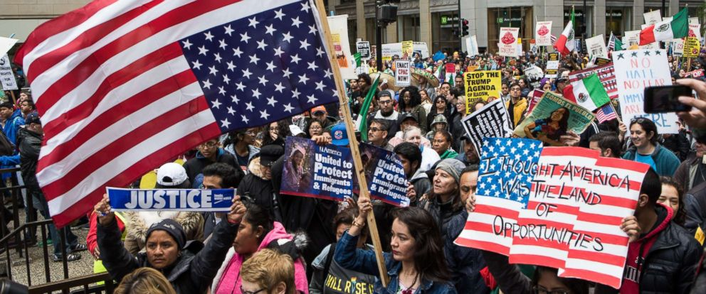 PHOTO: Demonstrators attend a May Day march in Chicago, May 1, 2017. Thousands gathered for May Day, also known as International Workers Day, in support of worker and immigrant rights.