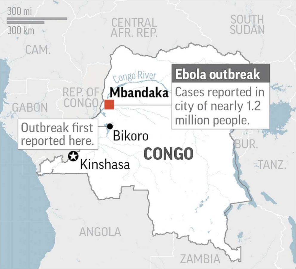 PHOTO: Mbandaka, Congo, where an ebola virus outbreak has been reported in the city of 1.2 million people, is pictured in this map.