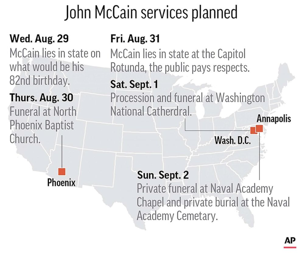 John Mccain Funeral: McCain Will Lie In State In Arizona, Then At US Capitol