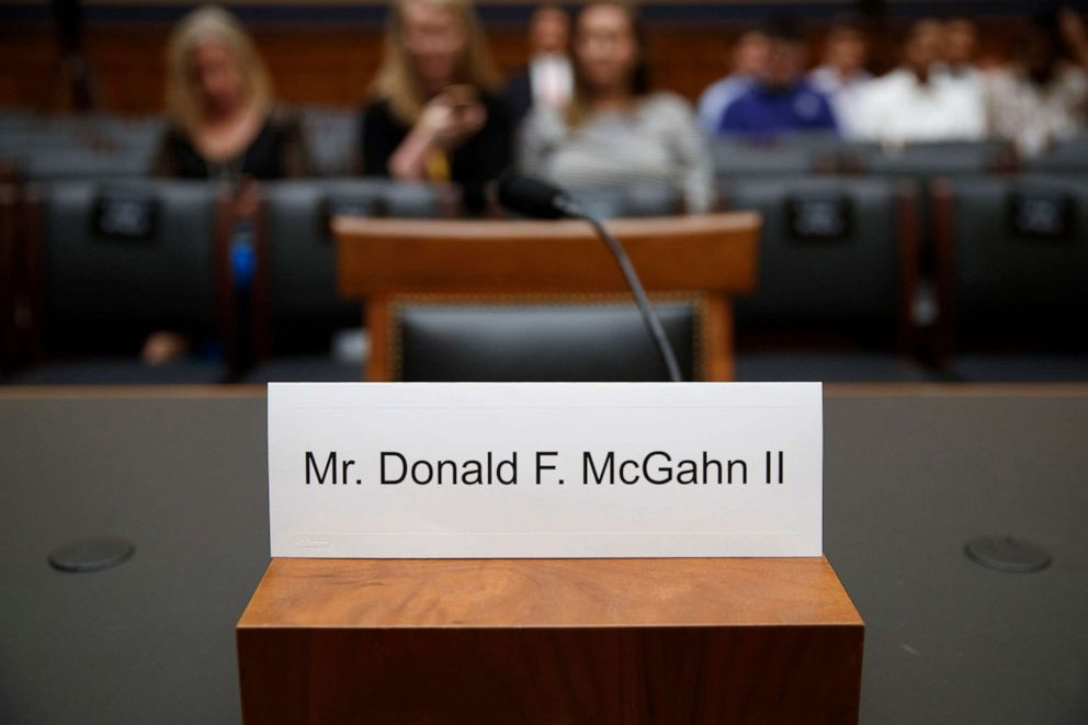 PHOTO: The empty chair of Former White House Counsel Donald F. McGahn II prior to the House Judiciary Committee on Capitol Hill in Washington, D.C., May 21, 2019.