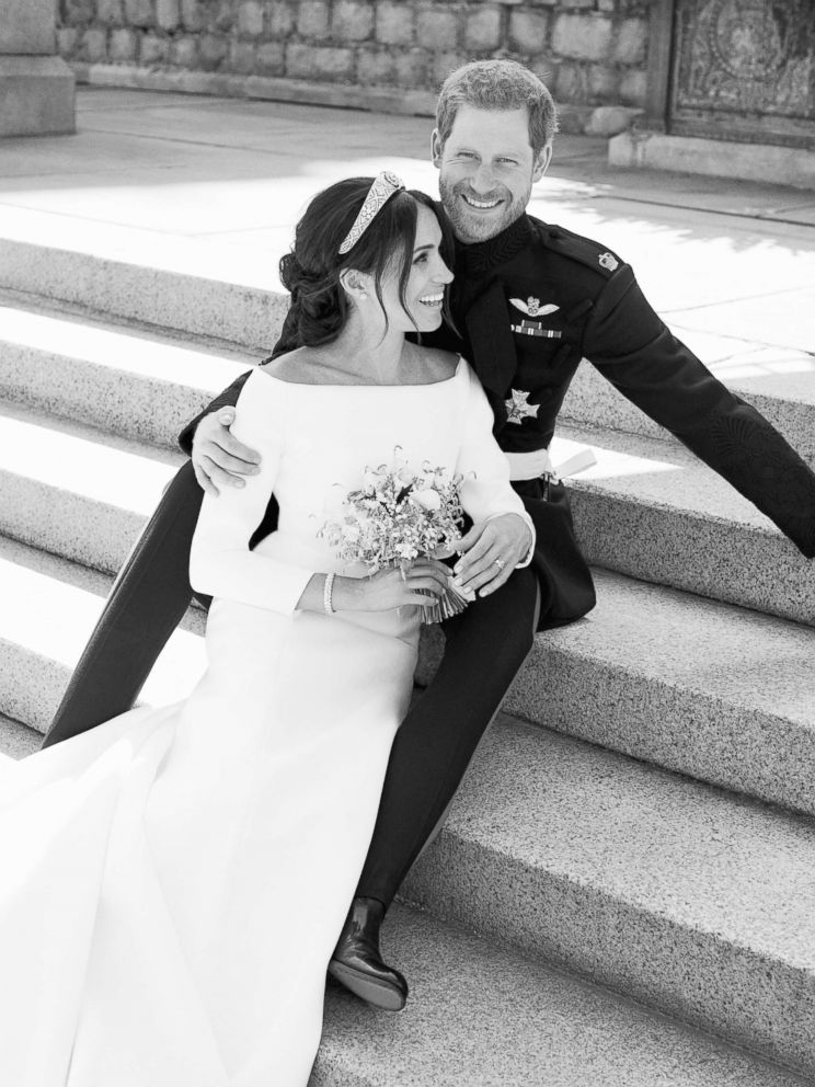 PHOTO: An official wedding photo of Britains Prince Harry and Meghan Markle, on the East Terrace of Windsor Castle, Windsor, England, May 19, 2018.