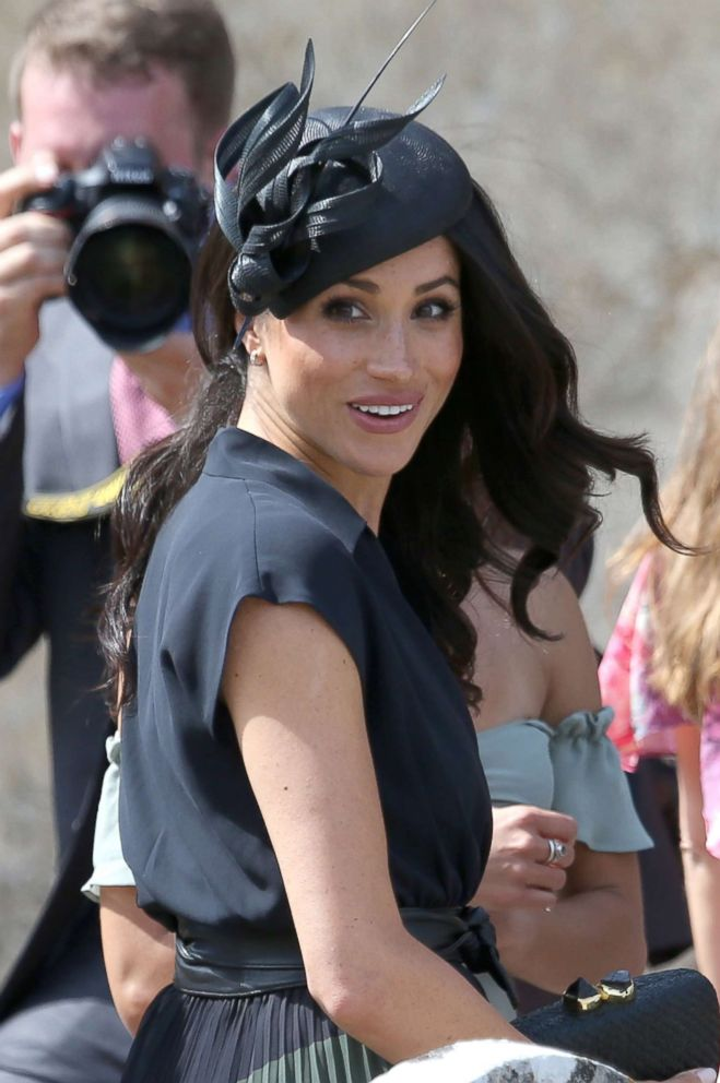 PHOTO: Meghan Markle, Duchess of Sussex attends the wedding of Charlie Van Straubenzee and Daisy Jenkins in Surrey, England, Aug. 4, 2018.