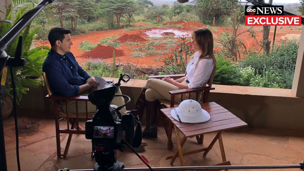 First lady Melania Trump gives an interview to ABC News' Tom Llamas.
