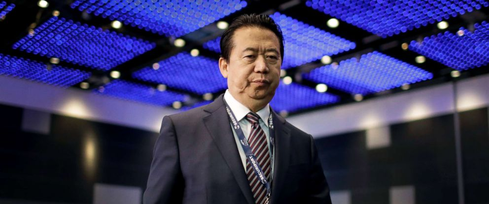 PHOTO: Interpol President, Meng Hongwei, walks toward the stage to deliver his opening address at the Interpol World congress in Singapore, July 4, 2017.