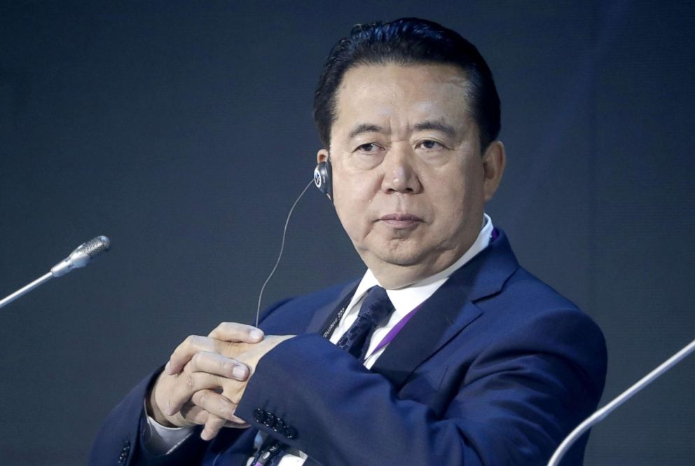PHOTO: Interpol President Meng Hongwei is pictured at an International Cybersecurity Congress in Moscow, July 6, 2018.