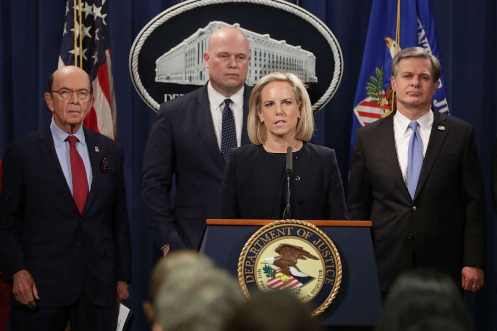 PHOTO: Then-Homeland Security Secretary Kirstjen Nielsen announces new criminal charges against Chinese telecommunications giant Huawei at the Department of Justice, Jan. 28, 2019 in Washington.