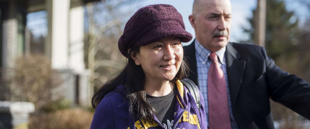 PHOTO: Meng Wanzhou, chief financial officer of Huawei Technologies Co., leaves her house for a hearing at the Supreme Court in Vancouver, British Columbia, Canada, on March 6, 2019.