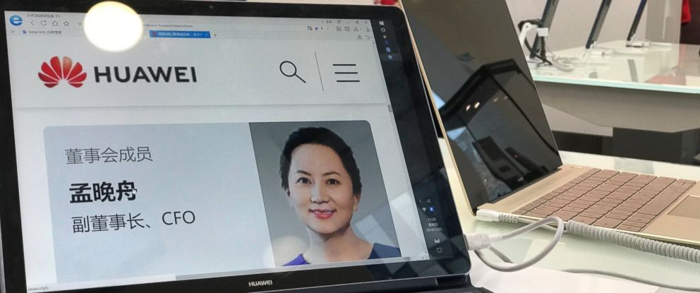 PHOTO: A profile of Huaweis chief financial officer Meng Wanzhou is displayed on a Huawei computer at a Huawei store in Beijing, China, Thursday, Dec. 6, 2018.