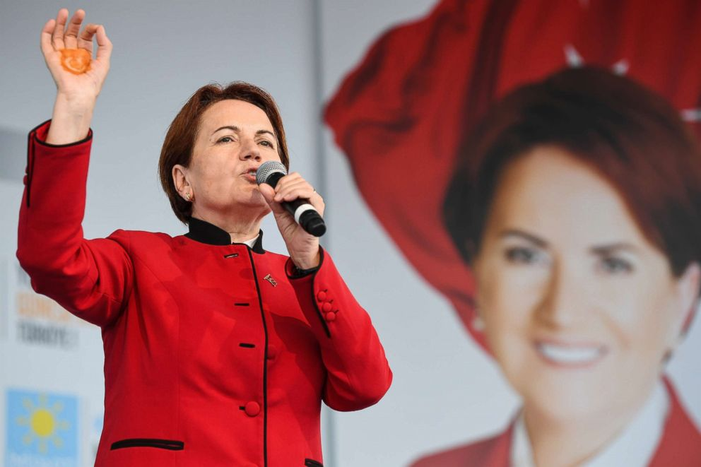 PHOTO: Leader of Turkeys Iyi (Good) Party and presidential candidate, Meral Aksener addresses supporters during a rally at Fath Vatan Caddesi on June 21, 2018, in Istanbul.