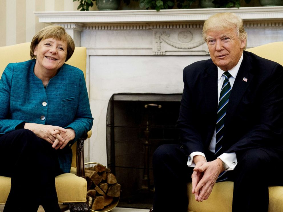 PHOTO: President Donald Trump and German Chancellor Angela Merkel meet in the Oval Office of the White House in this file photo taken March 17, 2017.
